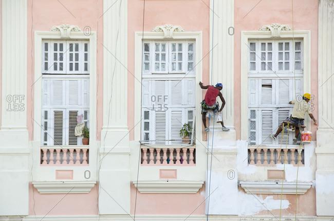Painting a classic building, Havana, Cuba