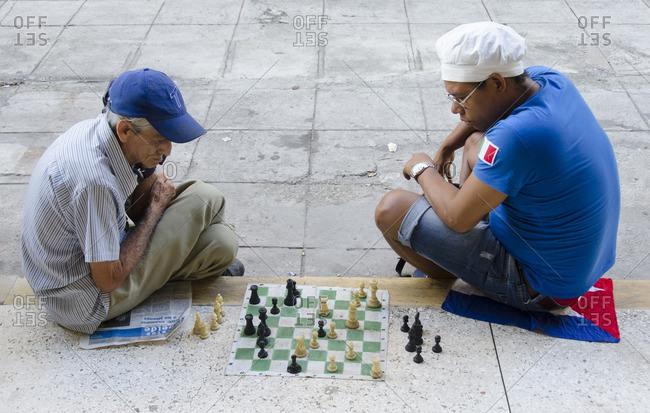 Havana, Cuba - October 10, 2013: Popular cuban pastime, Chess on the street