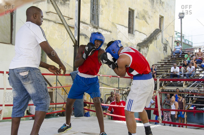 Havana, Cuba - October 11, 2013: Scenes from Rafael Trejo Boxing Gym