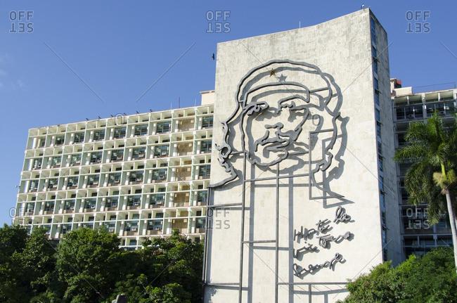Havana, Cuba - October 14, 2013: Ministry of Interior building in Plaza de la Revolucion with Che Guevera