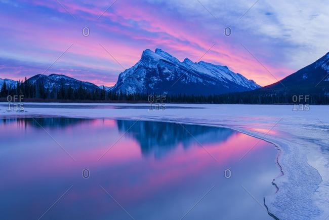 Spectacular dawn light, Mount Rundle, Banff National Park, Alberta, Canada