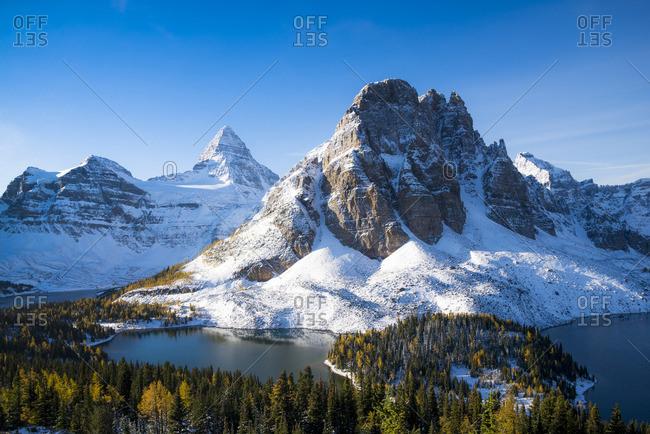 Mount Assiniboine and Sunburst Peak, Magog, Sunburst and Cerulean Lake, Mount Assiniboine Provincial Park, British Columbia, Canada