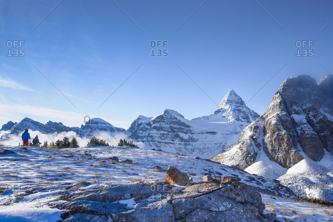 Hikers on the Nub, Mount Assiniboine Provincial Park, British Columbia, Canada