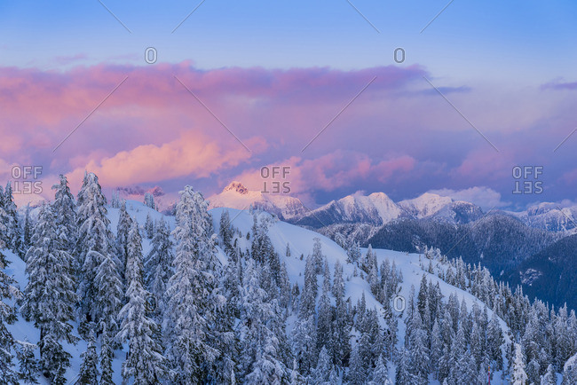 Twilight, winter, Mount Seymour Provincial Park, N Vancouver, British Columbia, Canada