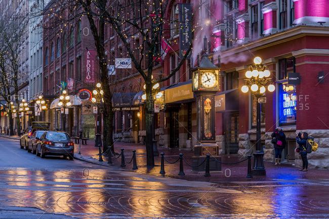 Vancouver, British Columbia, Canada - December 20, 2015: Steam Clock, Water St Gastown