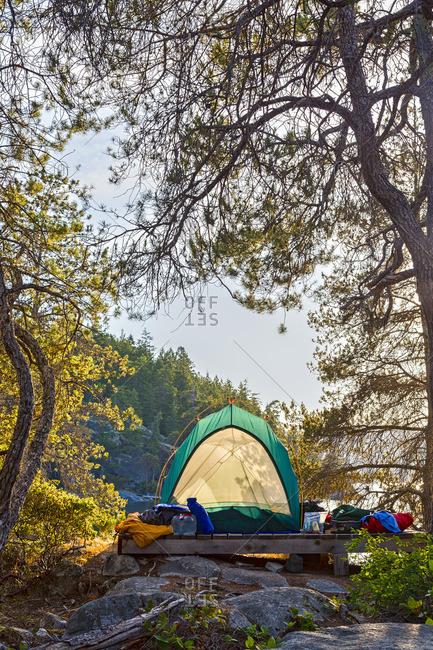 A kayaker's tent on West Curme Island overlooks  Mink Island in Desolation Sound Marine Park, British Columbia, Canada