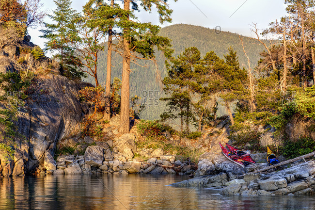 High tide separates East Curme from West Curme Island in Desolation Sound Marine Park British Columbia, Canada