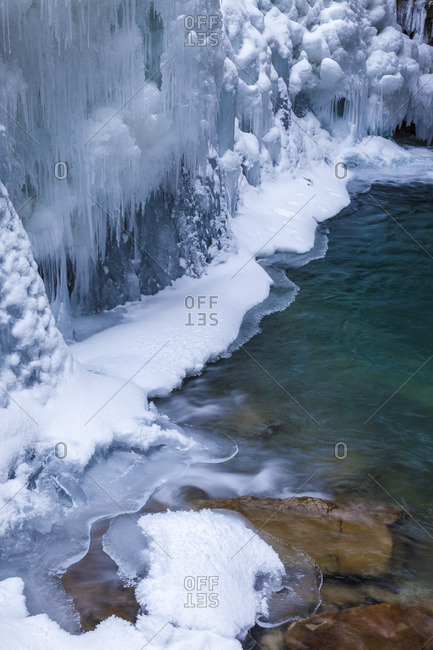 Ice and water in Johnston Canyon, Banff National Park, Alberta, Canada