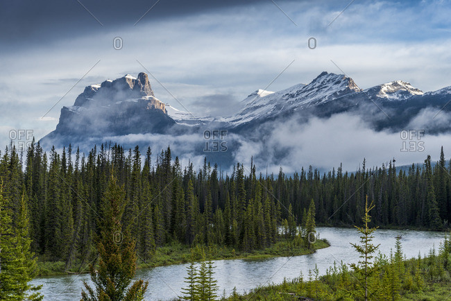Castle Mountain and the Bow River, Banff National Park, Alberta, Canada