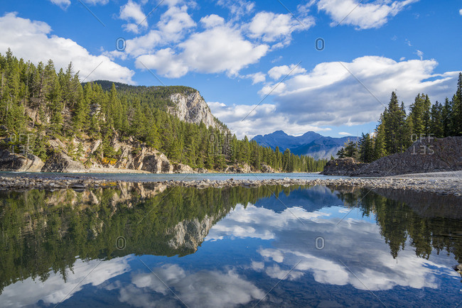 Tunnle Mountain reflected in the Bow River, Banff National Park, Alberta, Canada