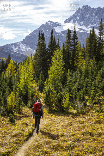 Two back packers hike near Baker Lake in the Skoki wilderness area of Banff National Park, Alberta Canada Model Released