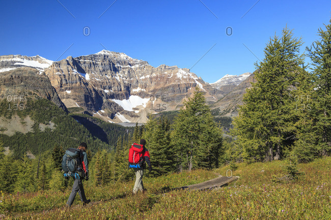 Banff National Park, Alberta, Canada - September 3, 2011: Two back packers descend the trail to Egypt Lake