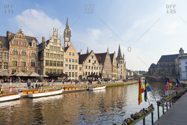 Ghent, Belgium - April 24, 2014: Buildings along the Graslei, a Medieval Port in the Historic Center of Ghent