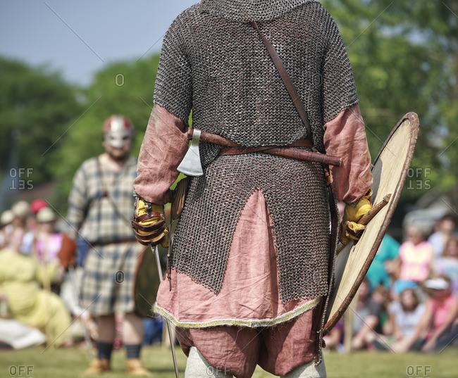 Viking warriors in battle re-enactment at the Icelandic Festival of Manitoba, Gimli, Manitoba, Canada