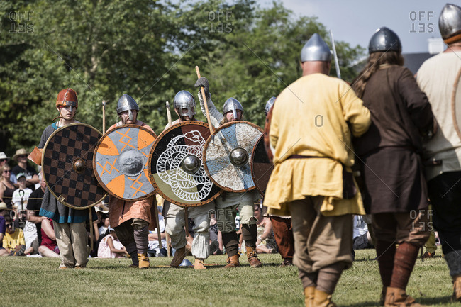 Manitoba, Canada - August 2, 2014: Vikings in battle re-enactment at the Icelandic Festival of Manitoba, Gimli