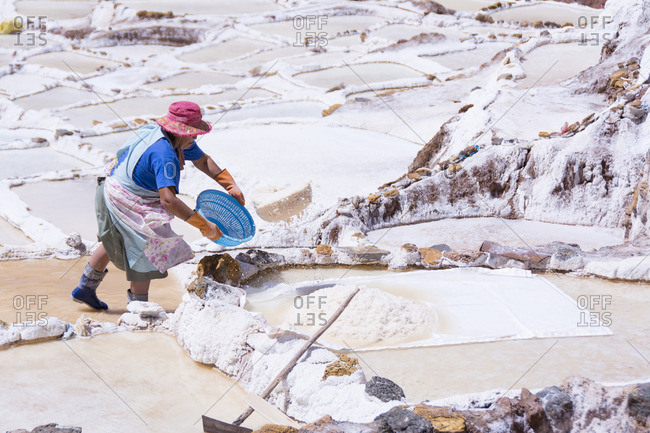 Salt pond mines of Maras, 40�kilometers north of Cuzco, in the Cuzco Region of Peru