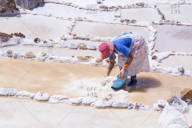 Salt pond mines of Maras, 40�kilometers north of Cuzco, in the Cuzco Region of Peru