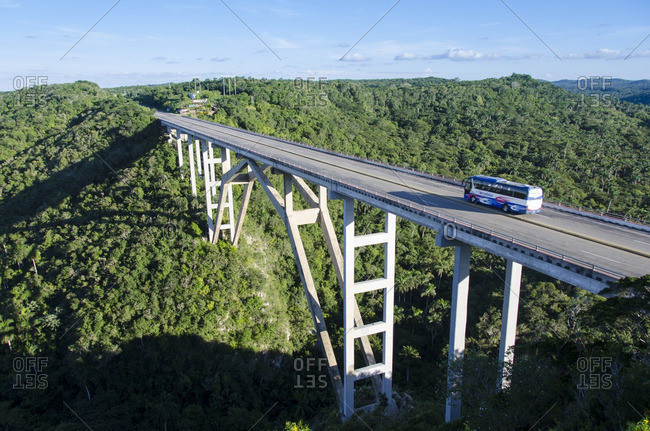 Cuba - October 15, 2013: Bridge of Bacunayagua, inaugurated in September 1959, crosses the canyon, and at 110 meters above the valley floor is the highest bridge in Cuba