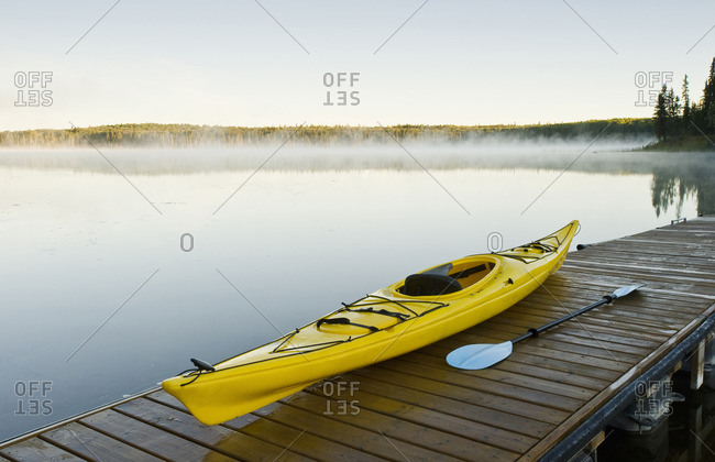 kayak on dock, Hanging Heart Lakes, Prince Albert National Park, Saskatchewan, Canada