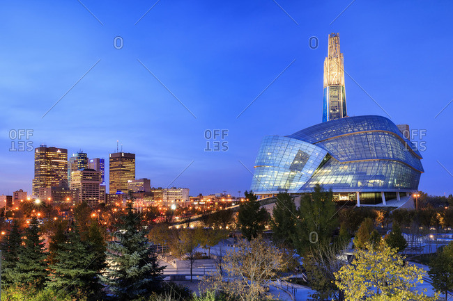Winnipeg, Manitoba, Canada - October 14, 2014: Canadian Museum for Human Rights at night in downtown