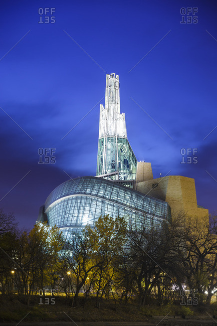 Winnipeg, Manitoba, Canada - October 23, 2014: Canadian Museum for Human Rights at night