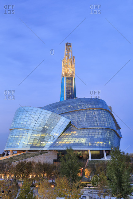 Winnipeg, Manitoba, Canada - October 14, 2014: Canadian Museum for Human Rights at night
