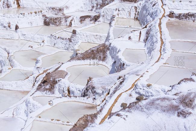 Salt pond mines of Maras, 40 kilometers north of Cuzco, in the Cuzco Region of Peru