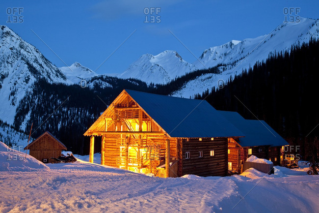 Golden, British Columbia, Canada - April 3, 2013: Chatter Creek Lodge in evening, Chatter Creek Catskiing, near Golden