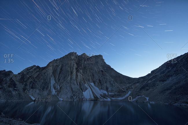 Star trails over Radalet Peak in the Yukon Coast Mountains, near Carcross, Yukon