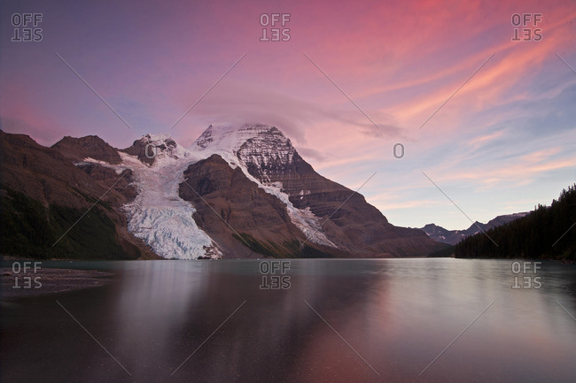 An amazing sunset view of Mount Robson and Berg Lake with the Berg Glacier, just North of Valemount, in the Thompson Okanagan region, British Columbia, Canada