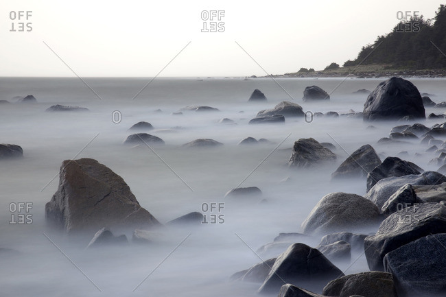 Beach rocks and waves, time exposure, winter storm watching, storm light, hiking, , Sunset Trail , Savary Island, Sunshine Coast, Strait of Georgia, Salish Sea, BC, Canada