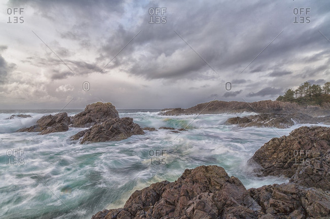 The wild Pacific Ocean as seen along the Wild Pacific Trail, Ucluelet, British Columbia, Canada