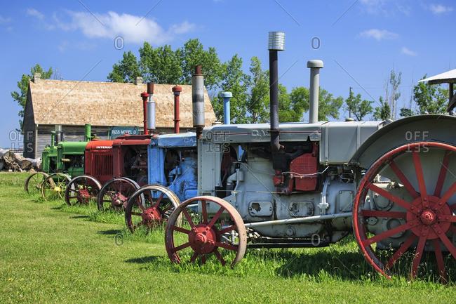Manitoba, Canada - May 11, 2013: Vintage tractors, Mennonite Heritage Village, Steinbach