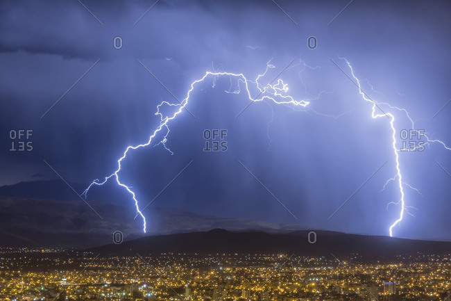 Lightning during a thunderstorm over the city of Cochabamba, Bolivia