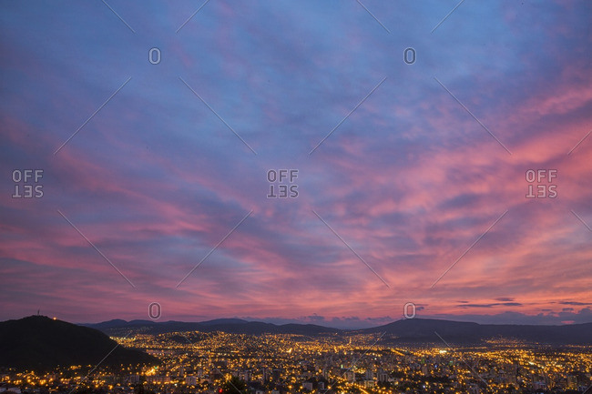 Sunset over the Bolivian city of Cochabamba