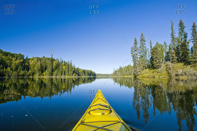 kayaking, Hanging Heart Lakes, Prince Albert National Park, Saskatchewan, Canada