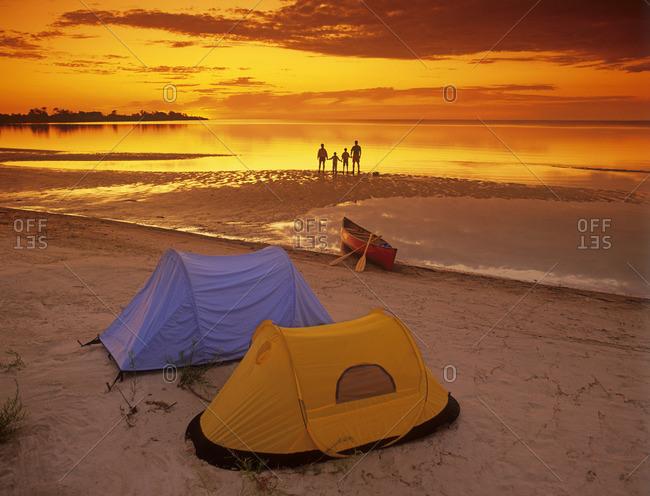 family camping along Lake Winnipeg, Manitoba, Canada