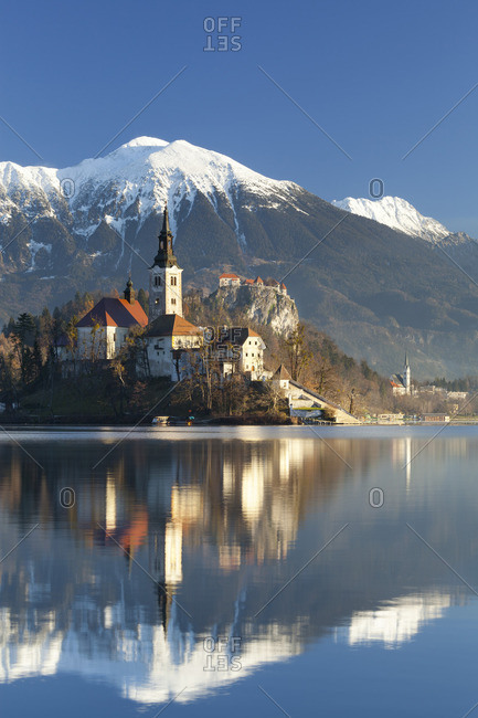 The Assumption of Mary Pilgrimage Church on Lake Bled and Bled Castle, Bled, Slovenia