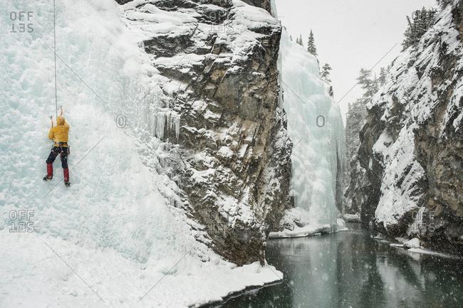 Ice climber at 'the Galleria' in Cline River Canyon, Kootenay Plains, Alberta, Canada