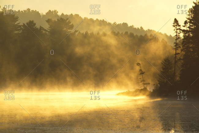 Early morning mist on Mew Lake in Algonquin Park, Ontario