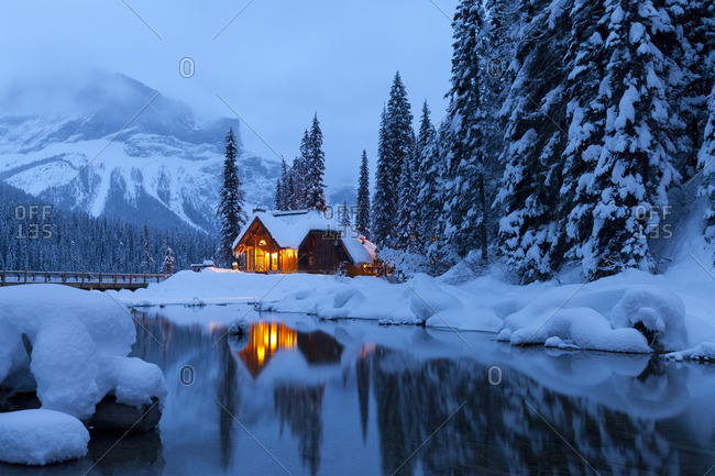 Emerald Lake Lodge in Winter, Yoho National Park, British Columbia, Canada
