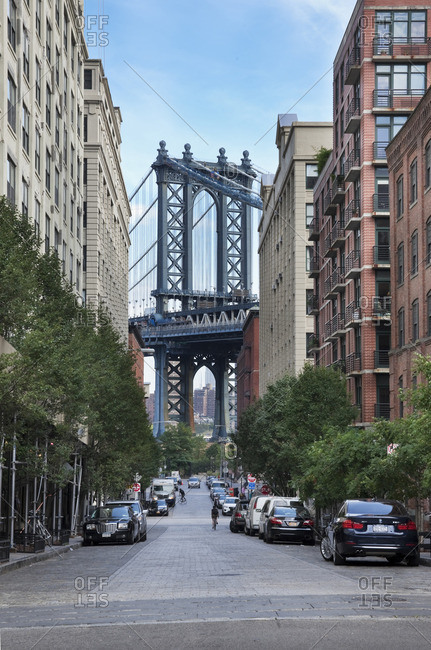 Dumbo, which stands for Down Under the Manhattan Bridge Overpass, is a neighborhood in Brooklyn that is nestled between the Manhattan and Brooklyn Bridges Both bridges figure prominently in the historic district's landscape New York City, New York, USA