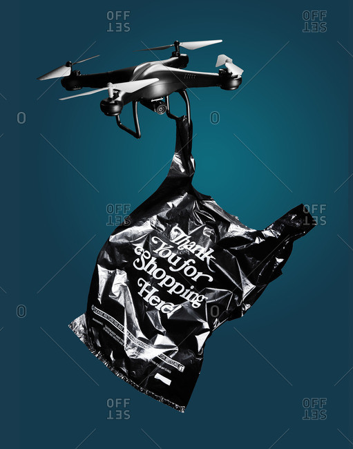 Drone with a plastic shopping bag