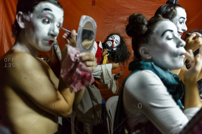 Medellin, Colombia - August 19, 2014: Clowns make-up before going on stage