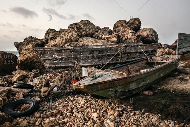 Boats on shore at Bocas de Ceniza, Colombia