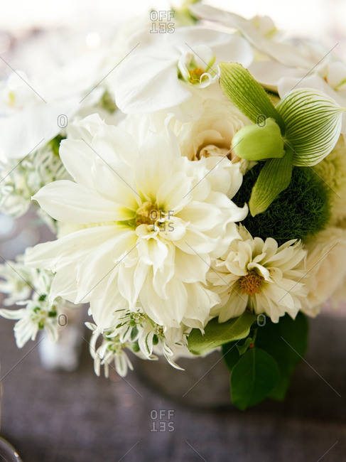 Centerpiece bouquet with white and green flowers
