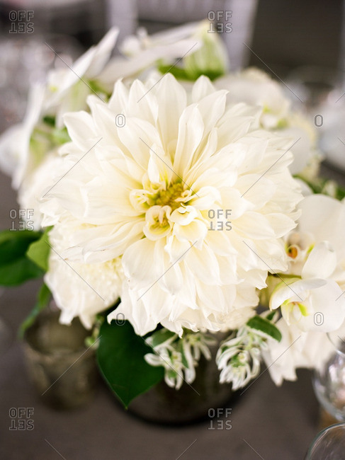 White and green centerpiece bouquet at a special event