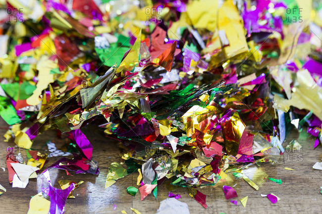 Colorful pieces of metallic confetti
