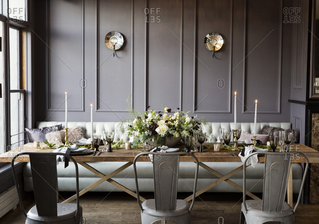Romantic table setting with candlelight
