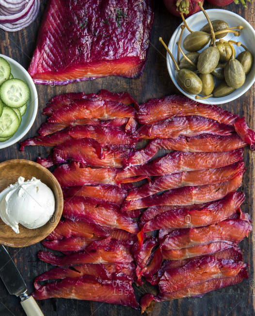 Close up of lox on a cutting board